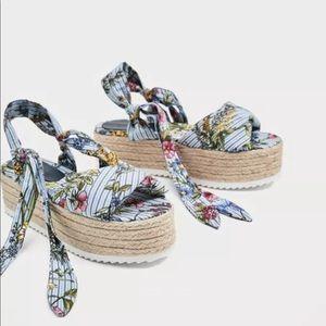 Zara tied floral raffia wedges